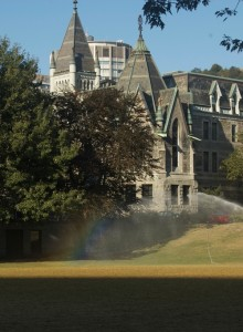 A rainbow on campus