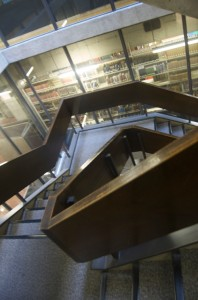 A staircase in the Arts and Social Sciences library