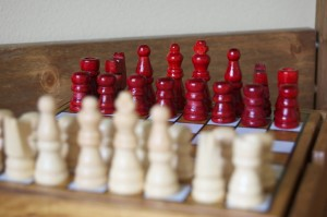 Red pieces on a chess board